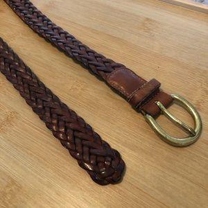 Coach braided leather belt
